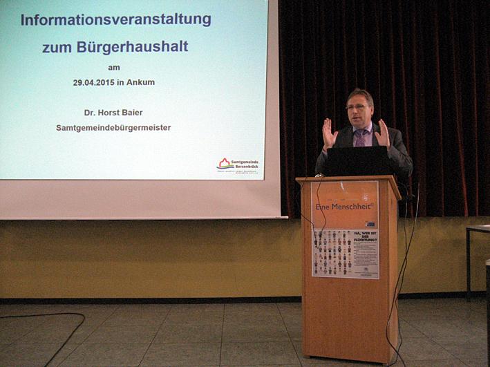 Horst Baier, der Samtgemeinde-Bürgermeister, hat aus seiner Osnabrücker Zeit Erfahrungen mit dem Bürgerhaushalt.