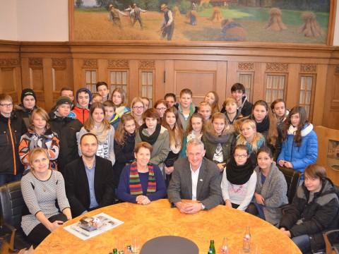 Christian Klütsch beim Schüleraustausch der Von-Ravensberg-Schule und Schülern aus der polnischen Stadt Gryfino.