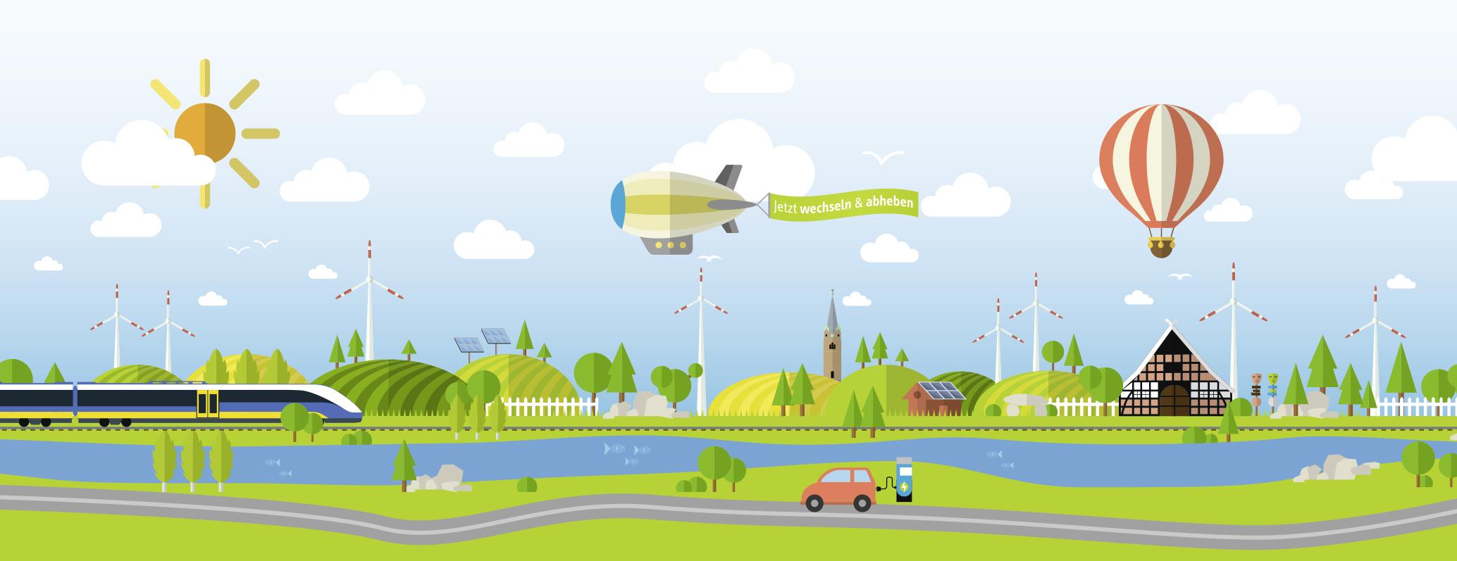 Illustrationen sind das Markenzeichen des Werbeauftritts von HaseEnergie. Online zu erreichen unter www.haseenergie.de.