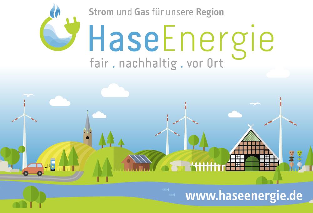 Mit Großplakaten wird ab Oktober in der Samtgemeinde für den Wechsel zu HaseEnergie geworben.