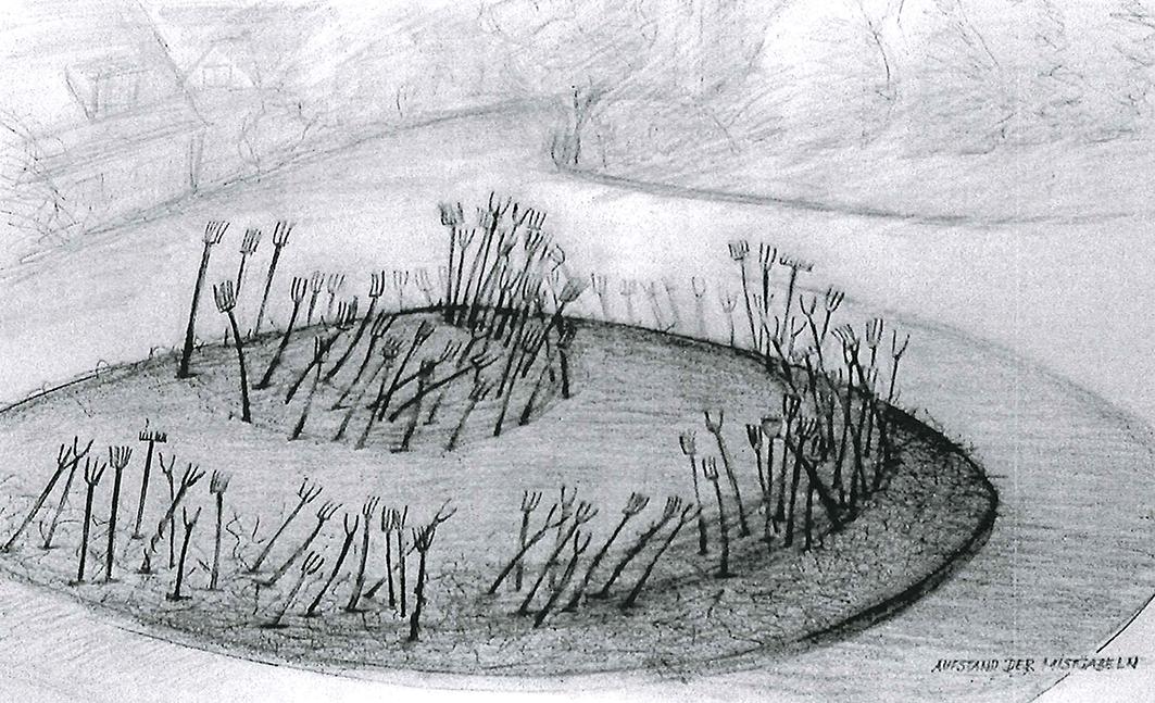 """""""Aufstand der Mistgabeln"""" ist der Titel des Kunstprojekts, das Volker-Johannes Trieb als Vorschlag für den Bersenbrücker Kreisel Woltrup-Wehbergen eingereicht hat."""