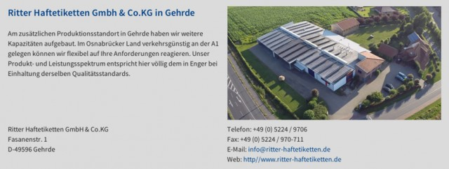 Ein Gewinn für Gehrde: Ritter Haftetiketten. Screenshot: ritterhaftetiketten.de