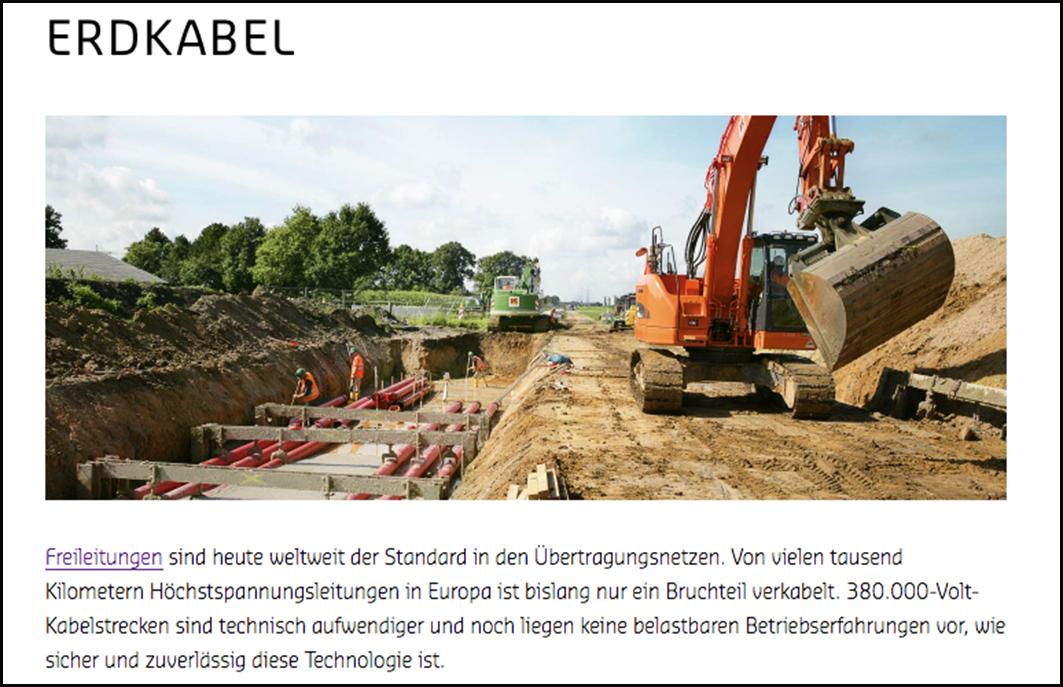 Eine Erdkabeltrasse kann eine Breite von bis zu 25 Metern haben. Screenshot www.amprion.de