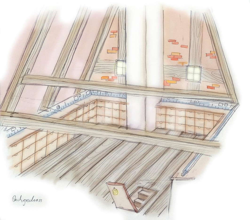 Im Dachboden: 100 Kästen zu 100 Jahre Bersenbrück. © Dr. Jutta Stalfort.
