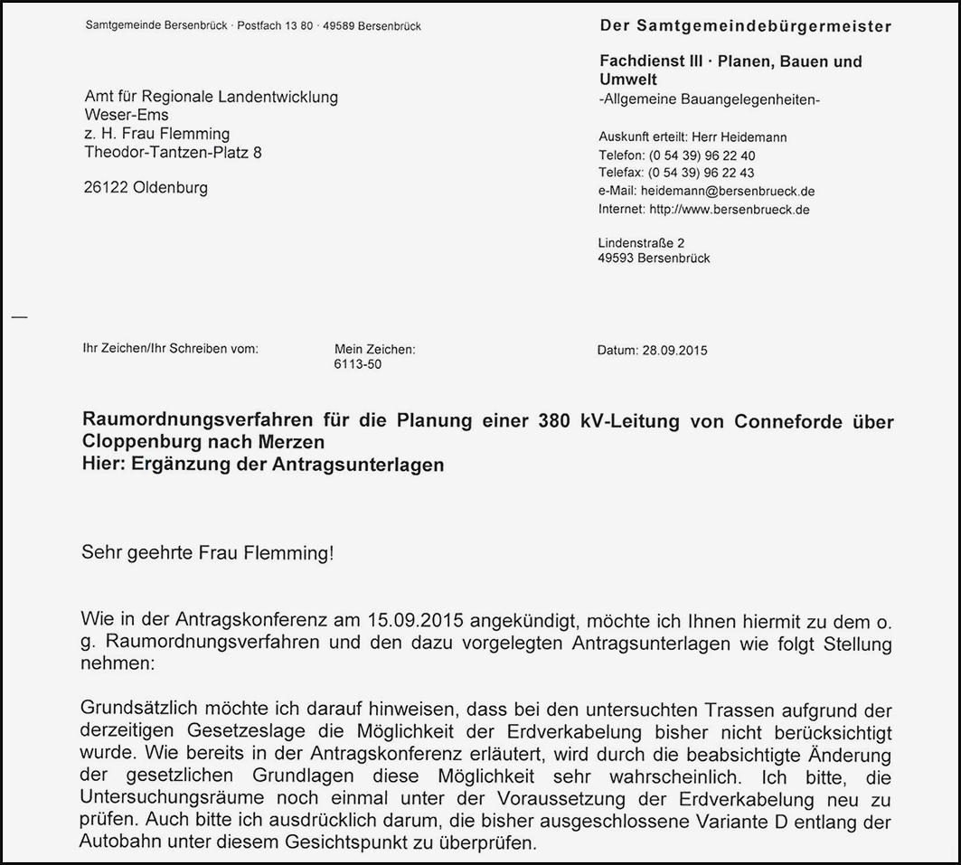 -Mit Schreiben vom 28. September bezog der Samtgemeinde Stellung.