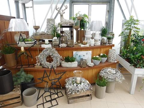 Deko-Stillleben in Silber und Weiß bei Göcke in Eggermühlen.