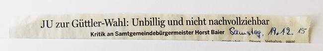 Überschrift zur Pressemitteilung der Jungen Union im Bersenbrücker Kreisblatt.