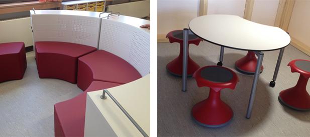 Bewegliche Elemente, Sitzecken und Nischen ergänzen die klassische Schulmöblierung. Foto Samtgemeinde.