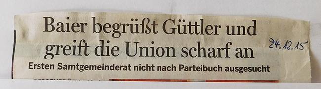 Überschrift zur Pressemitteilung des Samtgemeindebürgermeisters Dr. Horst Baier im Bersenbrücker Kreisblatt.