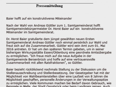 """Kritik oder ein """"scharfer Angriff""""? Hier die Pressemitteilung von Dr. Horst Baier."""