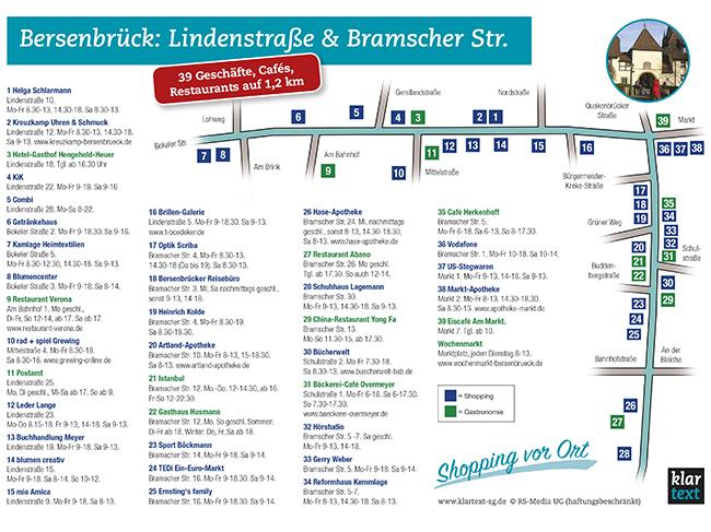 Als PDF (auf das Bild oder hier klicken) zum Herunterladen und Ausdrucken: Bersenbrücks Einkaufs-Meilen Lindenstraße und Bramscher Straße mit ihren Läden und ihrer Gastronomie – plus Öffnungszeiten.