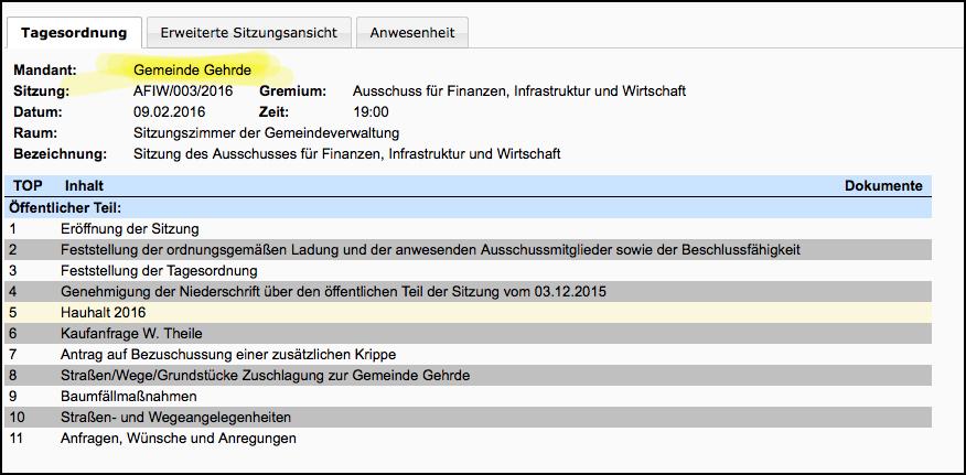 Das ist die einfache Variante: Es wird die Tagesordnung online gestellt, hier zu einer Ausschusssitzung in Gehrde..