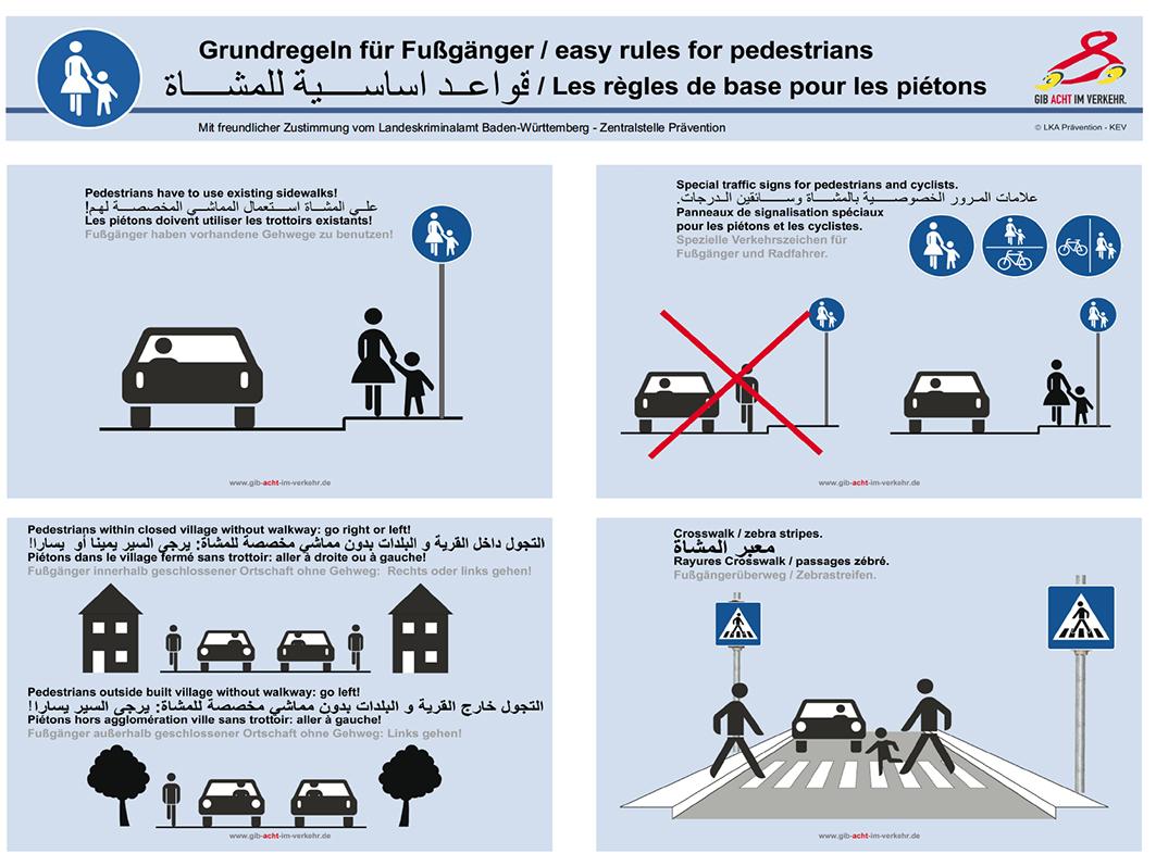 Weiter unter finden Sie die beiden Plakate für Flüchtlinge in voller Größe. Sie vermitteln die wichtigsten Verkehrsregeln für Fußgänger und Radfahrer.