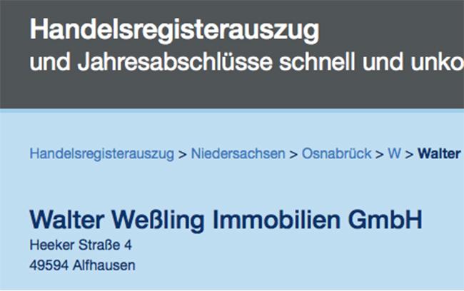 Im Handelsregister ist eine Firma Walter Weßling Immobilien GmbH in der Heeker Straße 4 eingetragen. Screenshot: /www.online-handelsregister.de