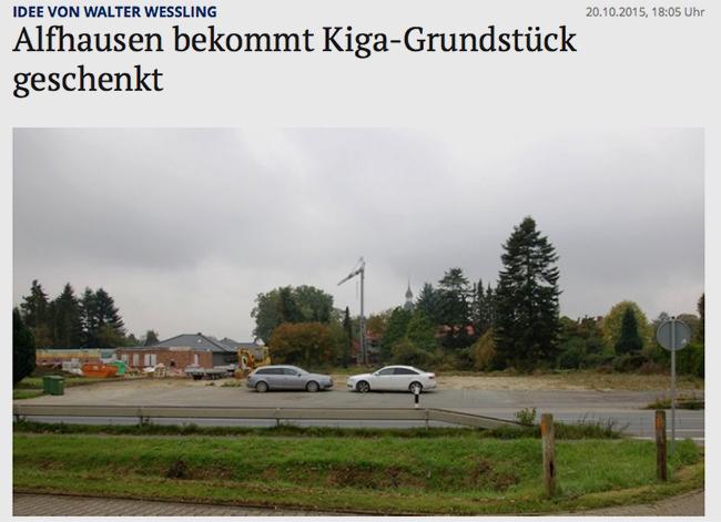 Im Bersenbrücker Kreisblatt wurde am 20. Oktober 2015 über die Schenkung berichtet. Screenshot: http://www.noz.de/lokales/samtgemeinde-bersenbrueck/artikel/628983/alfhausen-bekommt-kiga-grundstuck-geschenkt