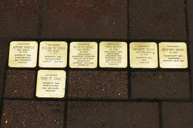 Jeder der sieben Steine berichtet vom Schicksal der Ermordeten. Alle gehörten zur jüdischen Kaufmannsfamilie Meyer, die 1820 nach Alfhausen kam. Foto: Bernhard Mecklenfeld.
