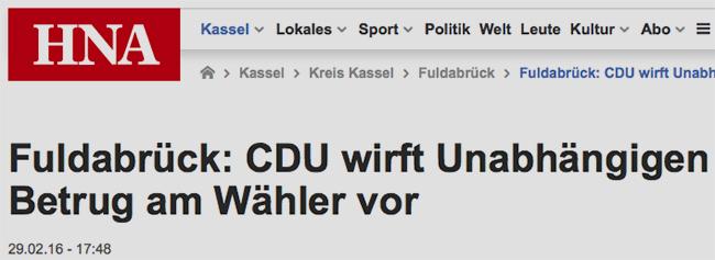 Vom Betrug an Bürger sprach der Informant. Andere tun es in diesem Sinne auch. Hier ein Beispiel vom Februar dieses Jahres. Screenshot: http://www.hna.de