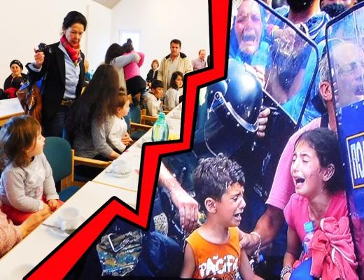 Kinder in zwei Welten: Rechts in der Welt, in der mit aller Staatsmacht Flüchtlinge von Europa und damit von Deutschland ferngehalten werden. Links: Flüchtlingskinder in der Samtgemeinde, wo sich viele Menschen der Kinder und Erwachsenen annehmen. © Foto rechts: Tagesschau.
