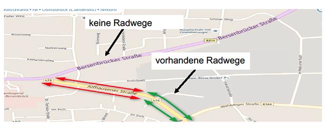Fehlende Radwege sind nicht das einzige Problem der Alfhausener Straße. Als Landstraße ist sie eine weitere Verkehrsschneise: eine, die Ankums Süden vom Norden trennt.