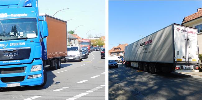 Abbiegende Lkws taten sich teils schwer mit dem wenigen Platz im Bereich Alfhausener Straße.Auch der Lkw auf dem Foto rechts hatte Mühe, aus der Alfhausener Straße nach links um die Ecke abzubiegen. Er brauchte dafür mehr Platz als die reine Fahrbahnbreite.