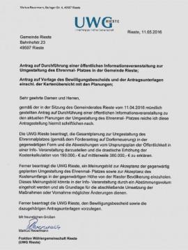 Hier der Antrag der UWG Rieste im Wortlaut.
