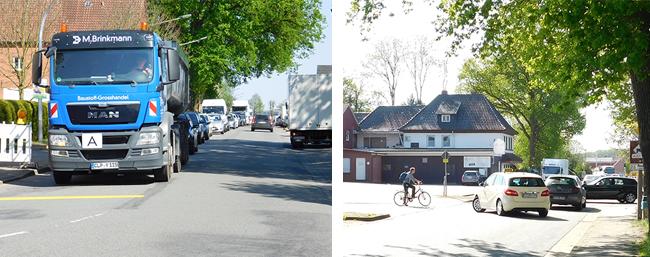 Es gab zeitweise einen Rückstau in der Alfhausener Straße, so am Nachmittag gegen 17 Uhr, aber größtenteils floss der Verkehr recht gut ab.