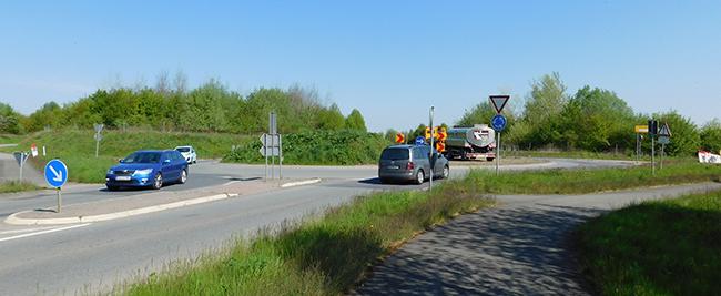 Der Umbau dieses Kreisverkehrs in Bersenbrück (Woltrup-Wehbergen) ist der Grund für die weiträumige Umleitung des Verkehrs, von der auch Ankum berührt ist.