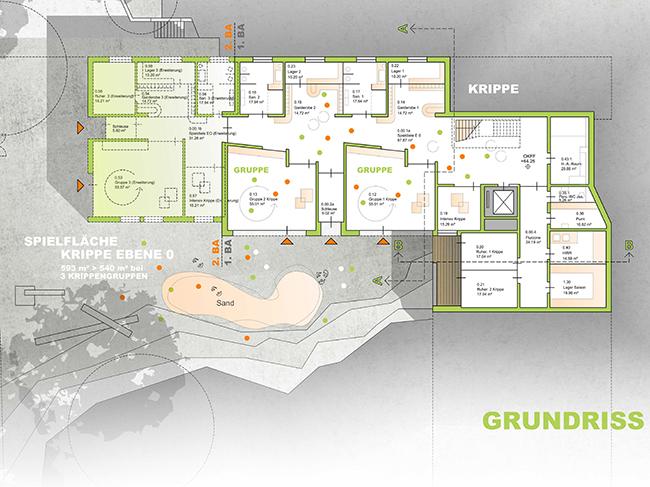 Die Krippe (links, grün markiert) liegt auf Ebene 0. Darüber wird der Gewegungsraum der KiTa liegen. © Plan: Ahrens + Pörtner.