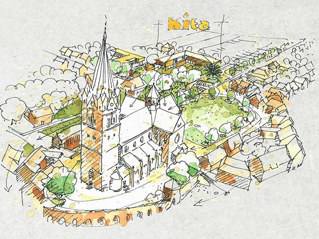 Die neue KiTa wird in bester Ortslage zischen dem Friedhof und der Kirche liegen, dazwischen noch der Vogelboll. © Plan: Ahrens + Pörtner.