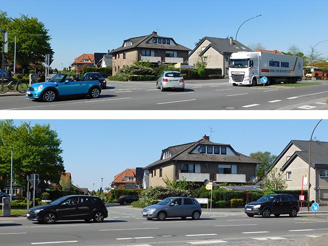 Die Ausfahrten/Kreuzungen frei halten: Nicht alle Autofahrer hielten sich an die Verkehrsregeln und stoppten vor dem Tiefen Weg, damit Autos auch abbiegen konnten.