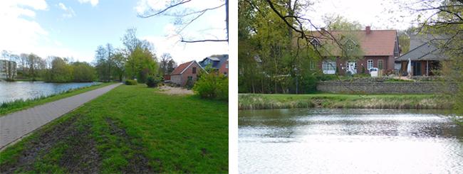 Am östlichen Ufer reichen zwei Privatgrundstücke bzw. Häuser bis nah an den See-Spazierweg heran. Wo genau die Grenze verläuft, z. B. ob entlang der hellen Linie auf dem Foto links, wird derzeit ermittelt.