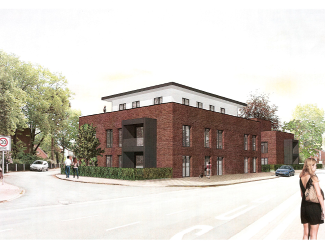 Zwei Gebäude mit 16 Wohnungen will die Baugenossenschaft in Kettenkamp errichten. Zeichnung: Architekturbüro Wolfgang Frye.