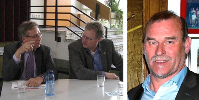 Sind jetzt im Gespräch, um Hallenkapazitäten in Ankum zu schaffen: Samtgemeindebürgermeister Dr. Horst Baier (linkes Foto links), Ankums Bürgermeister Detert Brummer-Bange (linkes Foto rechts) sowie Günter Feldmann, der Vorsitzende des Quitt Ankum.