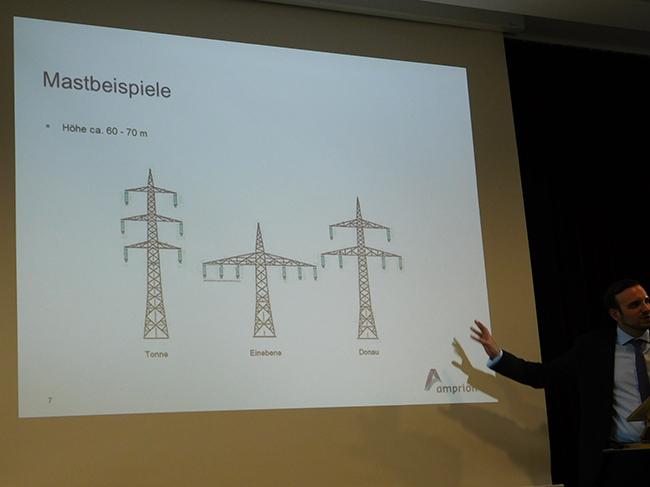 """Schreckgespenst """"Monster-Masten"""": Der Typ Donau (rechts) sei zur Zeit der """"Standard"""" so Sebstian Knauf von Amprion. Es würden auch niedrigere Masten zum Einsatz kommen, aber auch Masten, die höher sind als 60-70 Meter."""