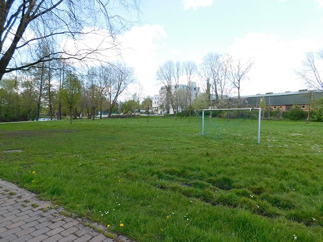 Auf der großen Wiese könnte ein offener Reitplatz mit einer in den Hang eingelassenen Tribüne entstehen. Es soll – z. B. als Beach-Volleyball-Platz – öffentlich genutzt werden können.