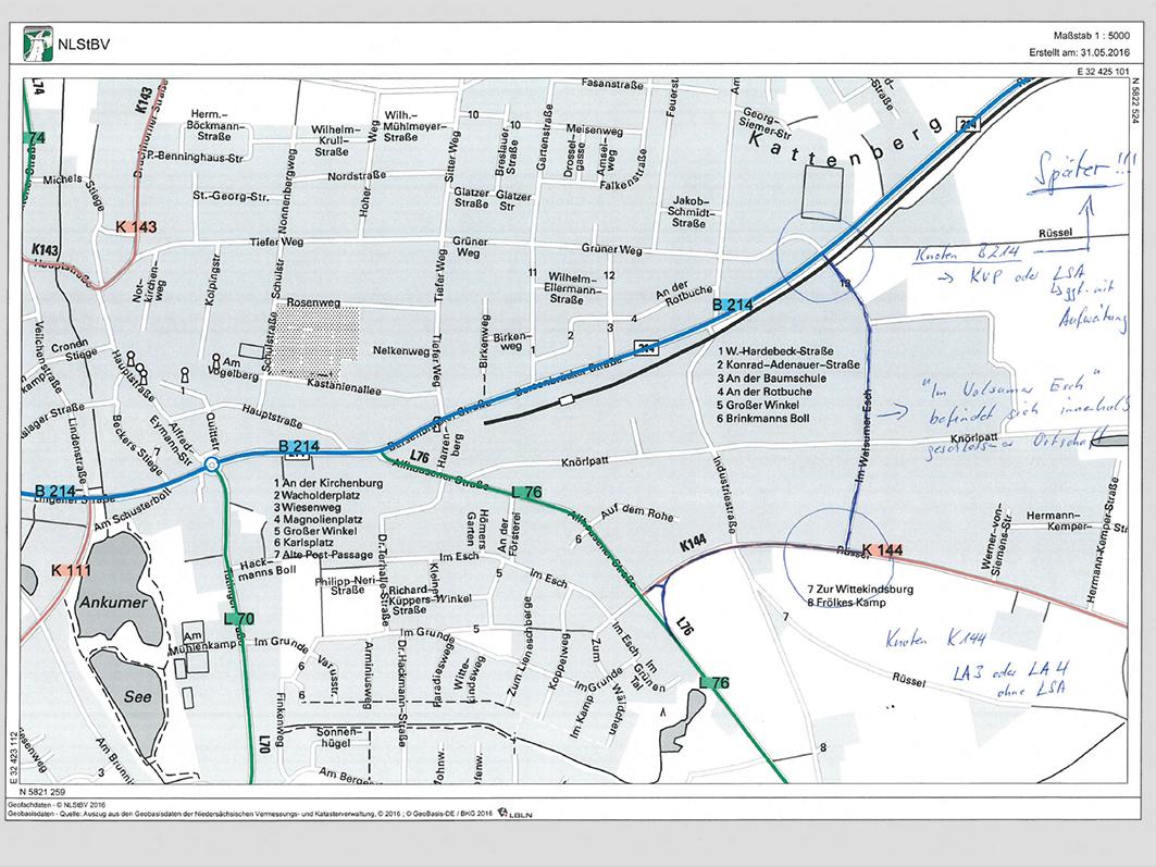 """Prüfung der """"großen Lösung"""": Der Verkehr soll in einer Kurve von der Alfhausener Straße zur K 144 geführt werden und dann durch die Straße """"Im Walsumer Esch"""" zur B 214."""