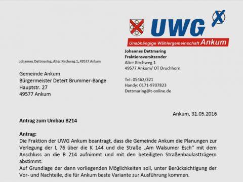 Geprüft werden soll auch ein Kreisverkehr auf Höhe Alfhausener Straße/B 214. Die Landesbehörde lehnt diese Lösungsmöglichkeit als nicht machbar ab. HIer der Antrag als PDF.