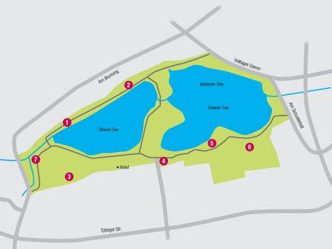An sieben Stellen an den Seen könnte sich etwas tun. Zu den Projekten gehören Bauprojekte und kleinere Projekte wie eine Ecke mit Fitness-Geräten.