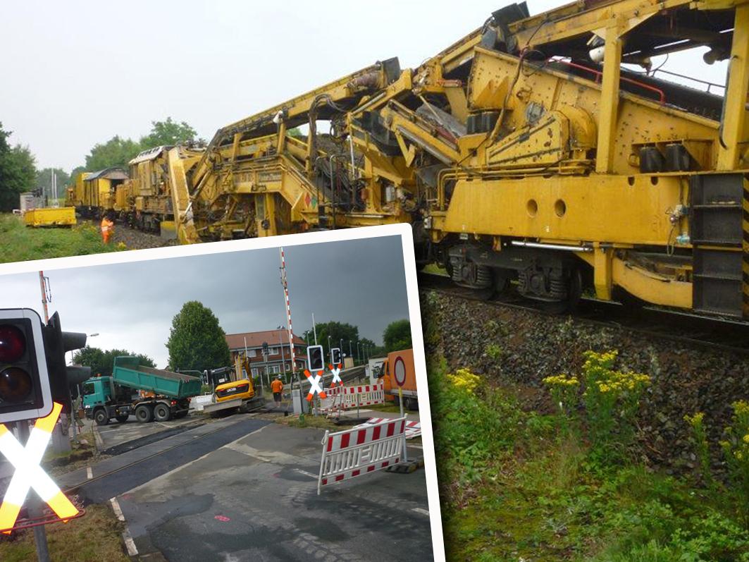 Gesperrte Bahnübergänge sind das große Ärgernis in Rieste. Der Arbeitszug fasziniert aber so manchen Technikbegeisterten.