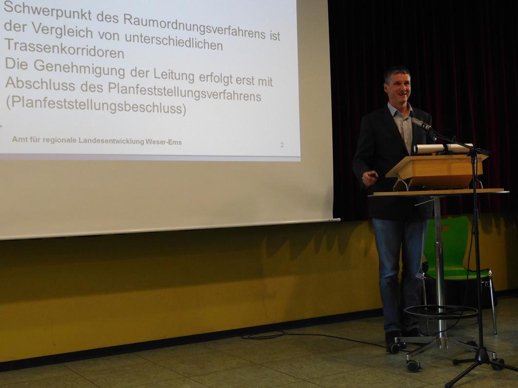 Bernhard Heidrich vom Amt für regionale Landesentwicklung Weser-Ems bei einer Veranstaltung in Ankum. Um die schwierigen Entscheidungen, vor denen er steht, ist er sicher nicht zu beneiden.