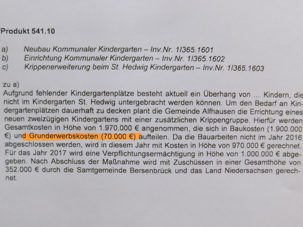 Im Haushaltsplan 2016 wurden 70.000 € für den Kauf des KiTa-Grundstücks ausgewiesen.