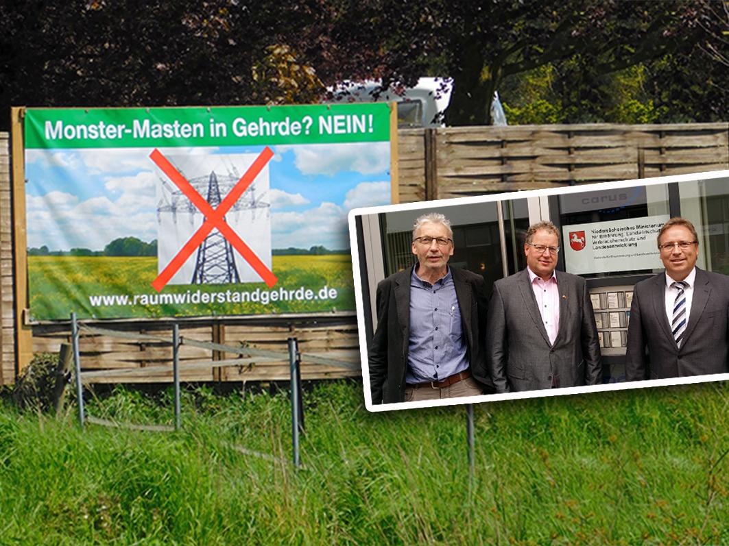 Waren im Ministerium, um sich für die Prüfung eines Trassenverlaufs auszusprechen: Die Bürgermeister Brummer-Bange, Voskamp und Baier.