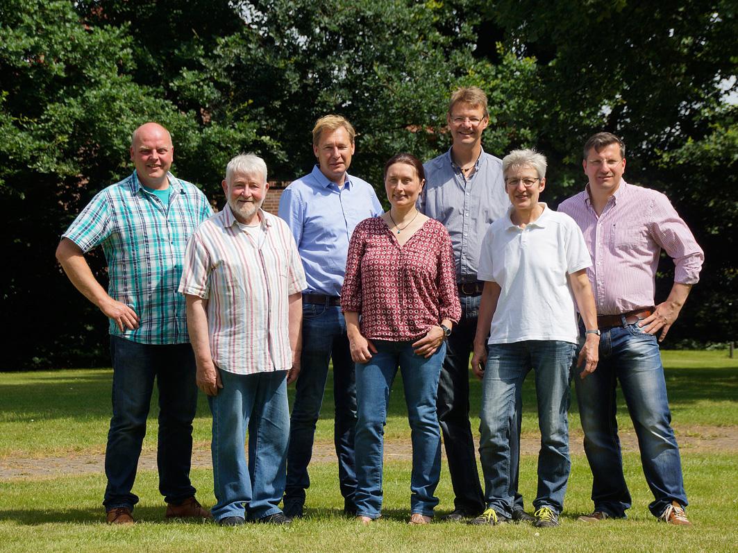 Die Kandidaten der UWG Rieste (von links): Markus Ter Heide, Klaus Matthes, Ralf Richter, Jutta Blome, Markus Revermann, Maria Stuckenberg, Marco Nitschke.