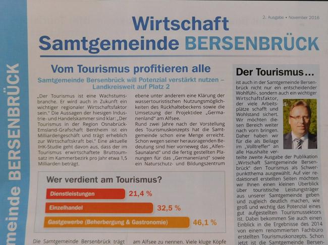 """Bietet kompakte Informationen zum Tourismus: Die 2. Ausgabe """"Wirtschaft Samtgemeine Bersenbrück""""."""