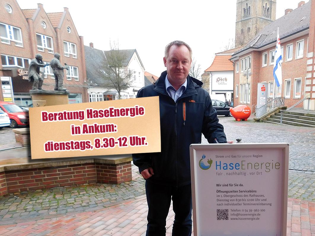 An jedem Dienstagvormittag berät Jan Wojtun im Ankumer Rathaus über HaseEnergie und den Wechsel zum samtgemeindeeigenen Anbieter von Strom und Gas.
