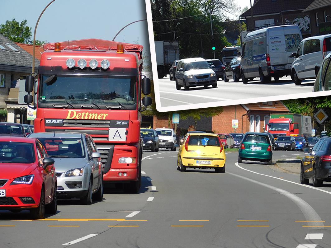 Dicht gedrängt, teilweise mit längerem Rückstau: der Verkehr auf der B 214 am 1. Ampelt-Tag in Ankum.